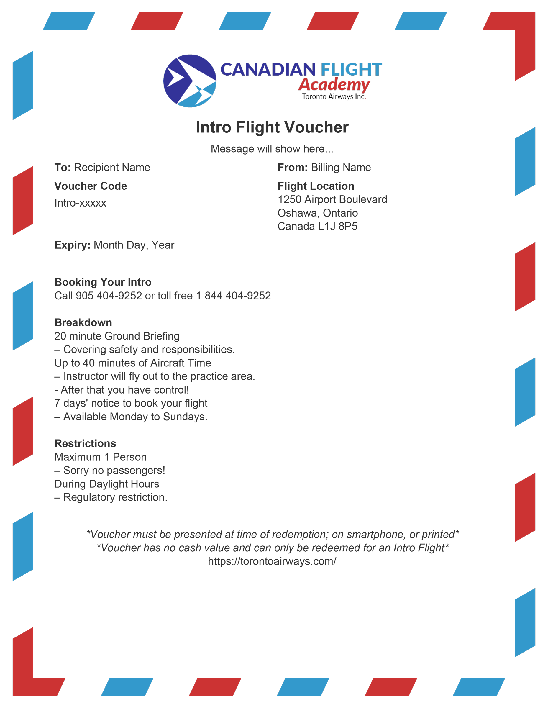 Example Canadian Flight Academy Voucher