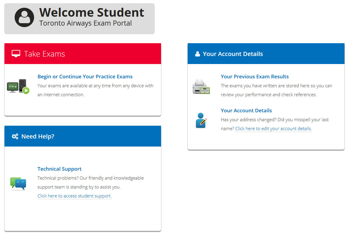 Example of exam page profile.
